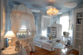 White Curtains Nursery by Soft Blue Wall Themes With White Wooden Cradle Having Canopy And