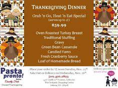 thanksgiving dinner grab n go heat n eat special serves up to