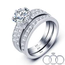 real crystal rings images Women 39 s real 925 sterling silver wedding ring set 3 in 1 cz jpg