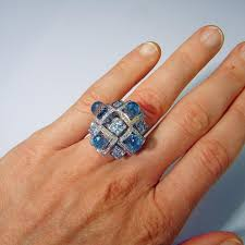 aquamarine engagement rings aquamarine diamond 14k ring aqua topaz diamond ring cocktail ring