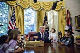 donald trump gives halloween candy to kids at white house time