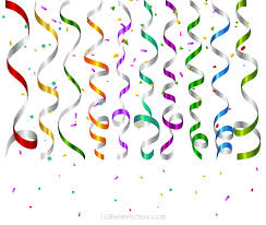 party streamers vector colorful birthday party streamers and confetti background