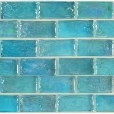 Artistry In Mosaics Uniform Brick Aqua Glass Uniform Brick Tile - Teal glass tile backsplash