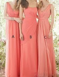 timeless sheath one shoulder floor length coral bridesmaid dress