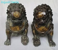 foo lion statue asian antique lion purple copper carved
