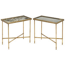 Brass Side Table French Neoclassical Brass Side Tables Jean Marc Fray