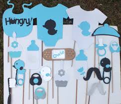 baby shower boy or teal white and black photo booth