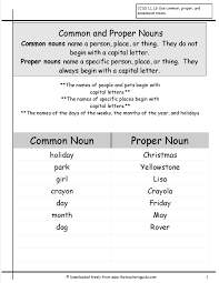 common and proper nouns worksheets from the teacher u0027s guide