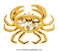 ornament gold sea crab ornament swarovskiâ crystals