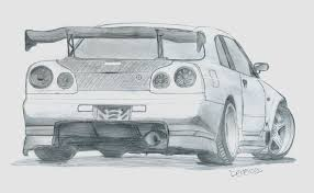 nissan skyline drawing skyline r34 sketch images clip art library