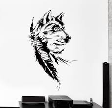 vinyl wall decal catcher dreamcatcher wolf indian symbol big