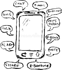 hand draw sketch function of mobile phone stock vector image