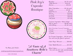 cake pop prices pink s cupcake boutique menu and prices brochure pink s