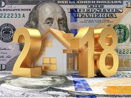 new year dollar bill real estate concept golden 2018 new year and house on the