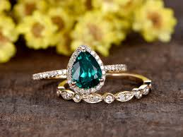 1 carat teardrop emerald engagement ring set diamond wedding band