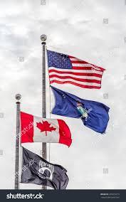 Maine Flag Image Flags America Canada Maine Powmia Flying Stock Photo 255415213