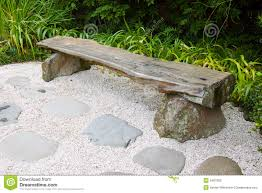 bench in japanese garden stock photography image 2487992