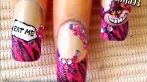 alice in wonderland cheshire cat 3d acrylic nail art design