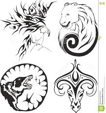 tattoo set with eagle bear wolf and ram stock vector image