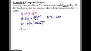 Compound Interest Worksheets Algebra 2 7 2 Notes Example 5 Compound Interest Youtube