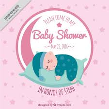 baby shower invitation with a sleeping baby vector free download