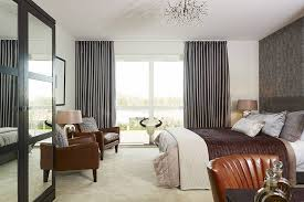 large modern grey curtains for luxury bedroom with large windows