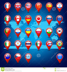 World Maps With Countries by Europe Map With Countries Flags Location Pins Stock Illustration