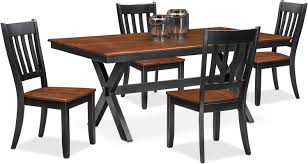 nantucket trestle table and 4 slat back chairs black and cherry