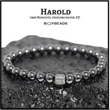 sterling bead bracelet images Harold gray quot 6mm hematite bead bracelet pave sterling silver for png