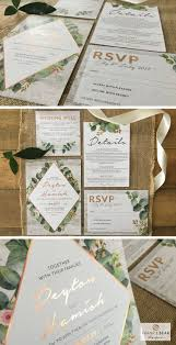 botanical greenery wedding invitation with copper foil by frankie