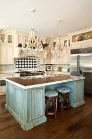 Two Island Kitchens by Alluring Turquoise Kitchen Theme Mixed With Two Tones Flooring