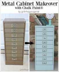 Chalk Paint On Metal Filing Cabinet Painted Metal Cabinet Makeover In The Garage Painting