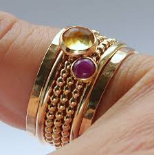 stacked birthstone rings 14k gf ruby citrine stackable birthstones mothers rings