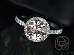 gold halo engagement rings rosados box 8mm white gold morganite halo