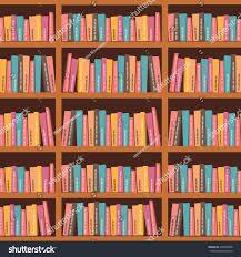 vector illusdtarion books on wooden bookshelves stock vector
