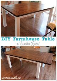 Expandable Farm Table Diy Farmhouse Table With Extension Leaves With Plans Sweet