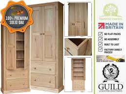 Wood Storage Cabinets With Drawers Traditional Solid Oak 2m Tall Multi Purpose Storage Cabinet With