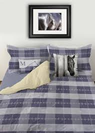 Duvet Bed Set Blue Plaid Horse Bits Boys Duvet Bedding Cover The Painting Pony