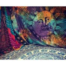 Psychedelic Room Decor Morning Wall Tapestry Blue Sun Moon Tapestry Psychedelic Tie