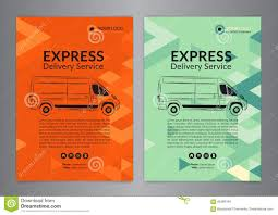 set a4 express delivery service brochure flyer design layout