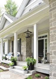 spring porch decorated with blue and white accents