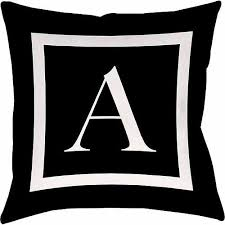 IDG Classic Block Monogram Decorative Pillow Black Walmart