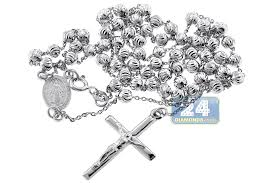 rosary bead necklace jewelry images Sterling silver moon cut bead mens rosary necklace 4 mm 24 26 inch jpg