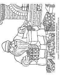 santa claus wrapping gifts free coloring pages kids