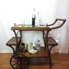 serving tray side table victorian tea cart portable bar entry or side table wicker oak glass