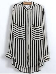 black and white striped blouse black beige vertical stripe pockets chiffon blouse shein sheinside