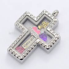 cross locket necklace pendant images Hot sale stainless steel silver magnetic glass floating charms jpg