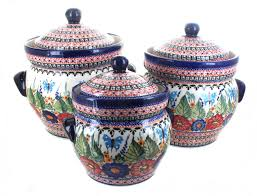 Pottery Kitchen Canisters Blue Rose Polish Pottery Kitchen Accessories