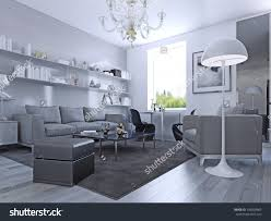 living room in modern style with white walls and awesome pale grey