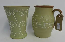 Denby Vase Pottery Denby Stoneware Green Glazed Jug And Matching Vase Each With